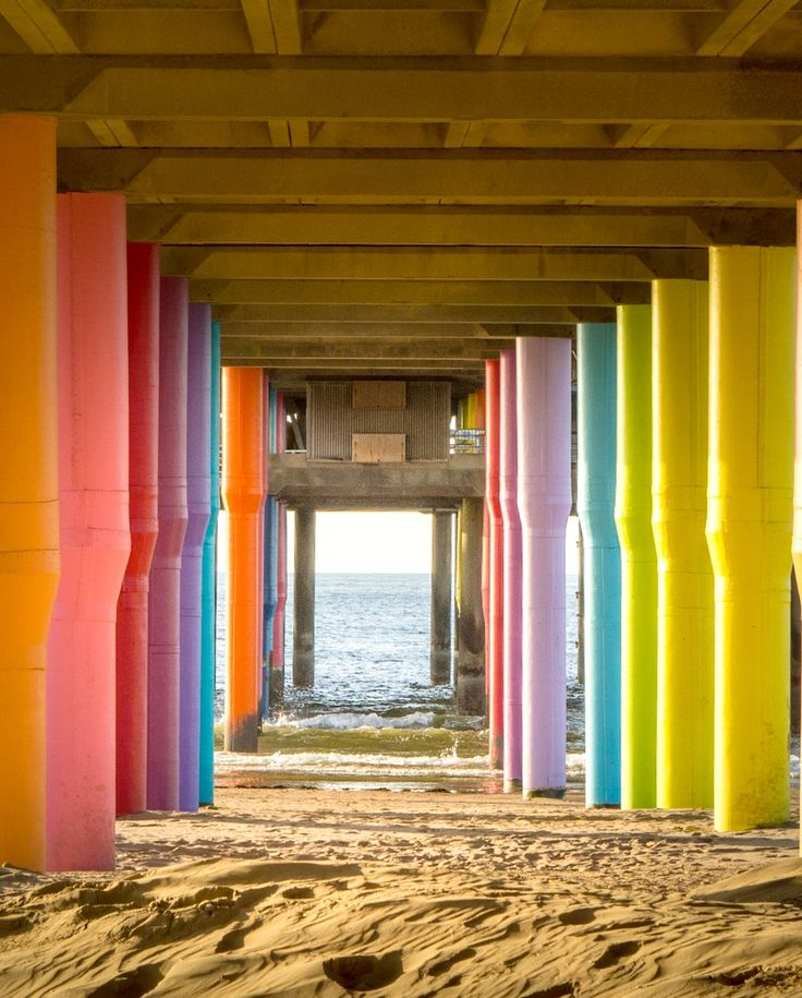 Colorful pillars at the Scheveningen beach in the Hague