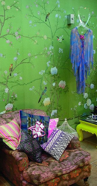 ⋴⍕ Boho Decor Bliss ⍕⋼ bright gypsy color & hippie bohemian mixed pattern home decorating ideas - green floral wallpaper