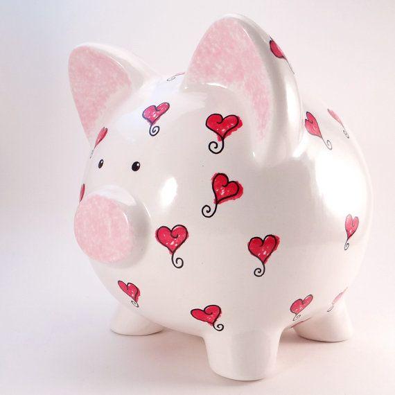 #HeartsPiggyBank  #PersonalizedPiggyBank  #RedHearts by #ThePigPen #mothersdaygift