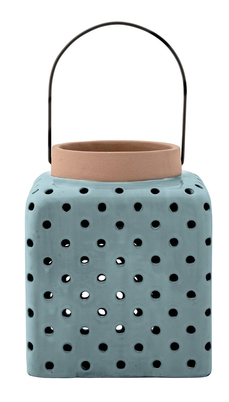 """Features:  -Material: Ceramic with metal handle.  -Terra cotta.  -With handle.  Style: -Modern.  Holder Material: -Ceramic/Metal. Dimensions:  -4.25"""" Opening.  Overall Product Weight: -5.62 lbs.  Over"""