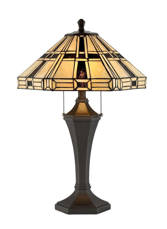 """Lite Source C41394 Mircea 2 Light 32"""" Tall Tiffany Table Lamp with Pull Chain Dark Bronze Lamps Table Lamps"""