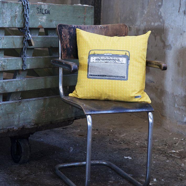 Radio pillow, handprinted 100% cotton