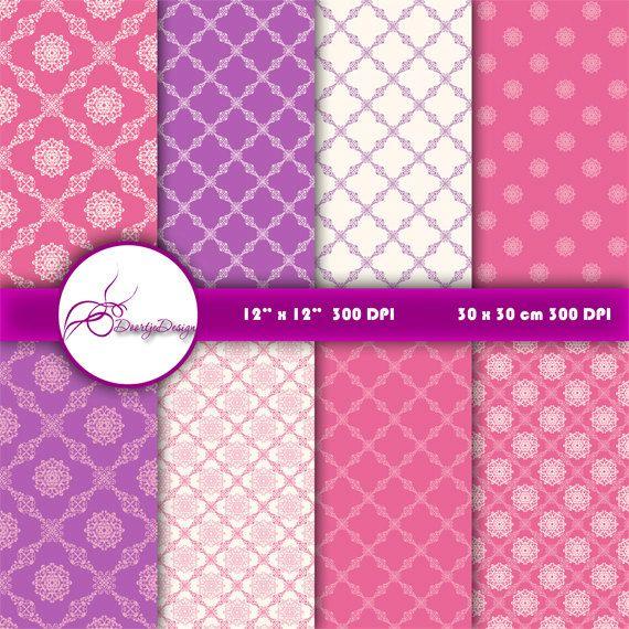 Pink purple damask digital paper pack pink damask by DoortjeDesign