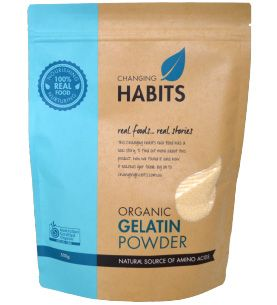 Changing Habits Gelatin Powder.  Gelatin is a product that Cyndi uses regularly because of its wonderful healing properties. Gelatin was a regular part of the traditional diet but in the modern world nose to tail eating is no longer as common, meaning we miss out on the wonderful amino acids that were available in the bones, skin and joints of the animal