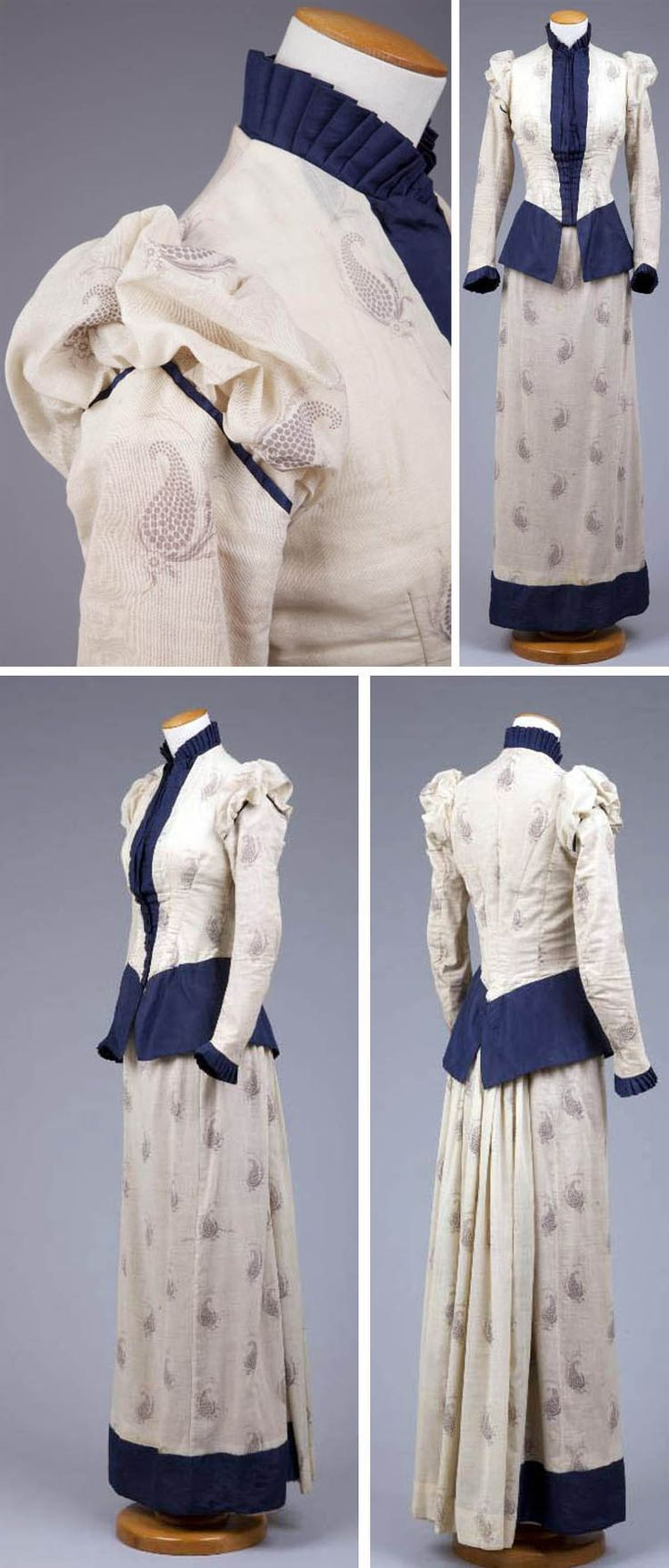 """Day or walking dress ca. 1890-83. Bodice & skirt made of natural cotton and wool printed with a dark blue, widely spaced, large paisley print. Tight-fitting boned bodice, narrow sleeves, and high collar. Sleeves are dropped and bodice front has slight """"V"""" lower edge. Fairly slim skirt has fullness in back for small bustle. Hand-stitched except for some machine-stitched alterations. Cotton lining. Goldstein Museum of Design, Univ. of Minnesota"""