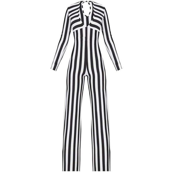 Monochrome Striped Long Sleeve Plunge Jumpsuit ($38) ❤ liked on Polyvore featuring jumpsuits, striped jumpsuit, white plunge jumpsuit, plunge jumpsuit, long sleeve jump suit and white long sleeve jumpsuit