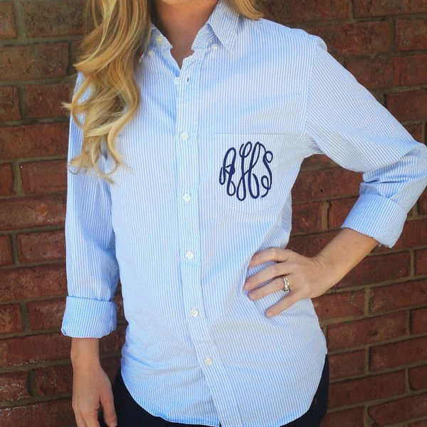 Preppy J Crew Monogrammed Oxford Button Down ($45) ❤ liked on Polyvore featuring tops, grey, women's clothing, grey top, christmas tops, button up dress shirts, dress shirts and striped top