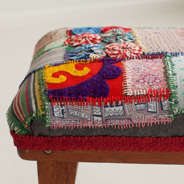 Homefront Exhibition. Stool Upcycled By Textile Allsorts Melanie Hill.  Textileallsorts.com.au