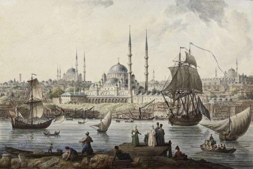 'Yeni Cami ve İstanbul Limanı', Jean-Baptiste Hilair, 1789. Kağıt üstüne suluboya.