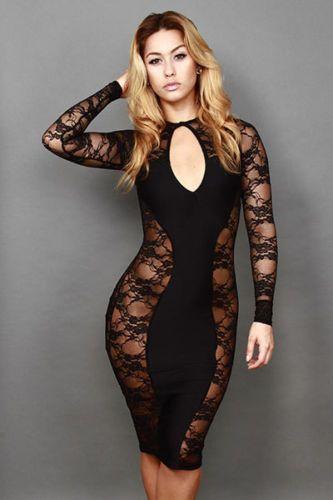 SEXY WOMENS NEW LONG SLEEVE BLACK LACE BODYCON DRESS UK 8 PARTY CLUBWEAR EROTIC  | eBay