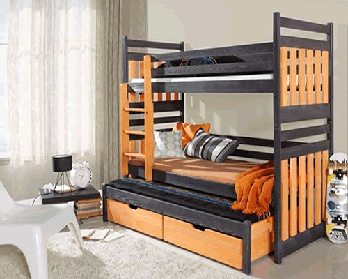 Sambor triple children bunk bed uk standard size with pull out bed & storage at HouseandHomeShop.co.uk