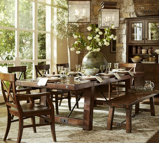 Benchwright Extending Dining Table Pottery Barn Heavy Wooden Perfect For Holidays And Family Dinners