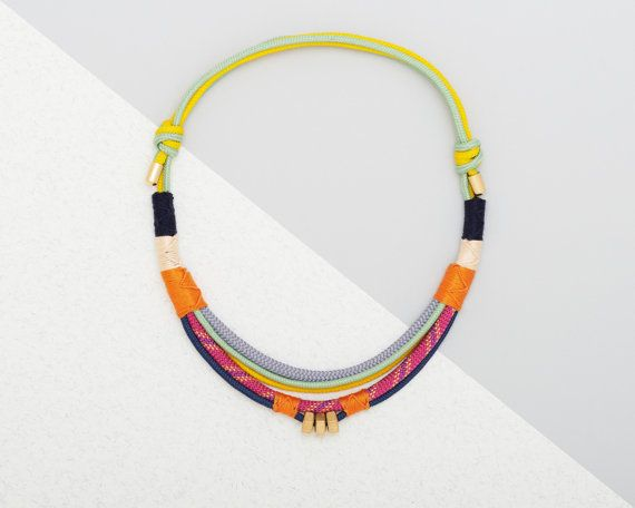 Climbing rope necklace in bright colours, modern tribal, African inspired *The Marangu Necklace