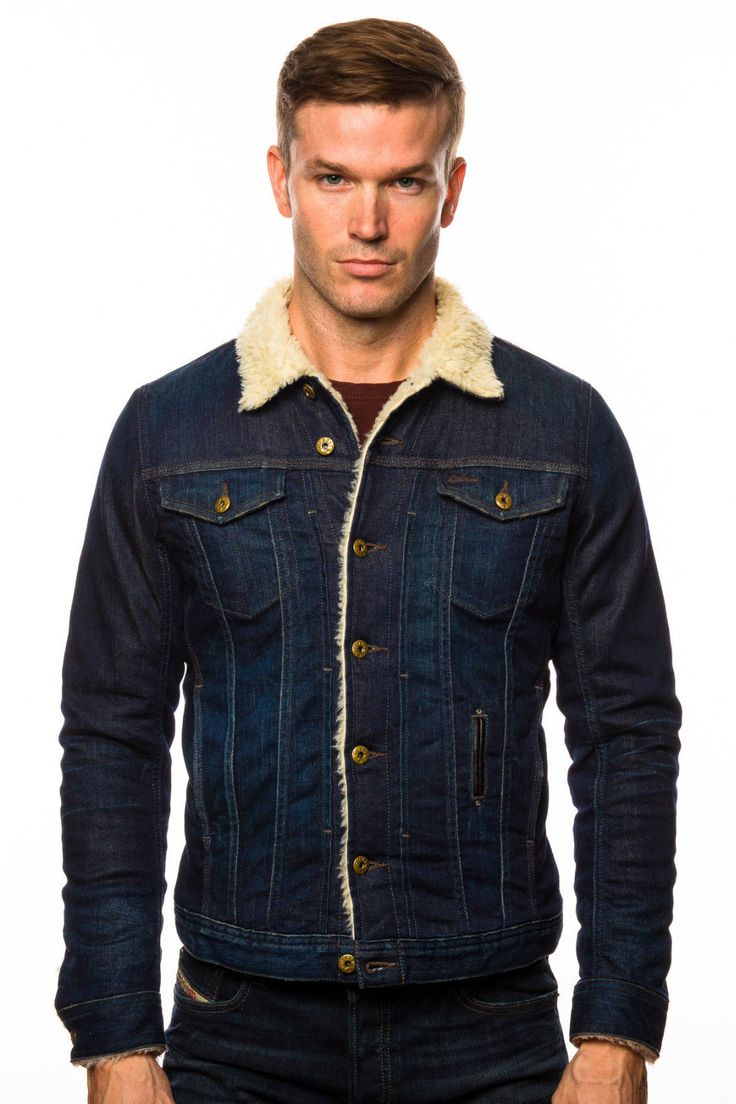 DIESEL-ELSHAR-BORG-fur-LINED-DENIM-JACKET | Shearling ...
