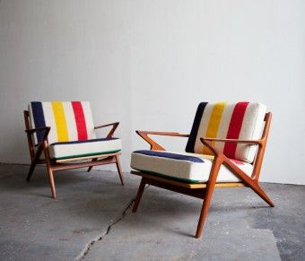 Hudson Bay Blanket cushions on a pair of Poul Jensen for Selig Z Chairs. The frames are the rare teak versions, and are in excellent condition. All the cushions came from a king sized Hudson Bay Blanket so the colors are a perfect match.  $4,750.00