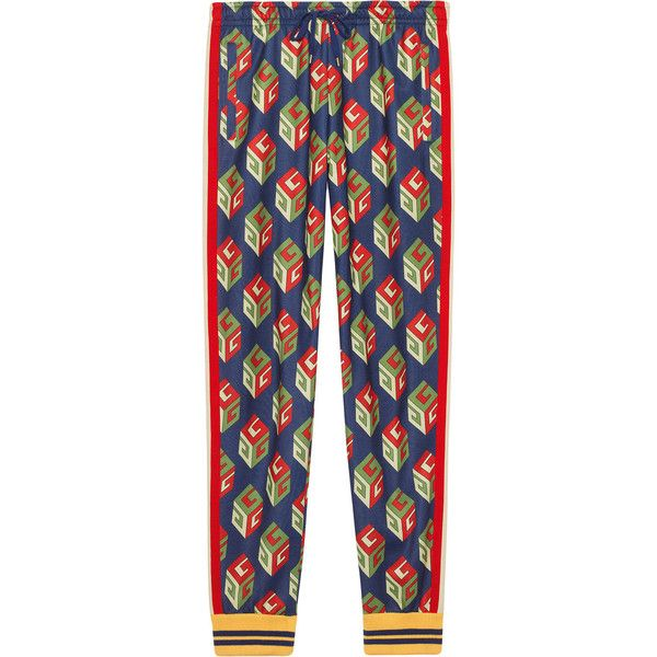 Gucci GG Wallpaper technical jersey pant (€750) ❤ liked on Polyvore featuring men's fashion, men's clothing, men's activewear, men's activewear pants, blue and gucci