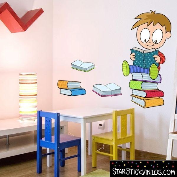 Ni o leyendo play vinilo infantil escuela pinterest for Vinilos infantiles nino