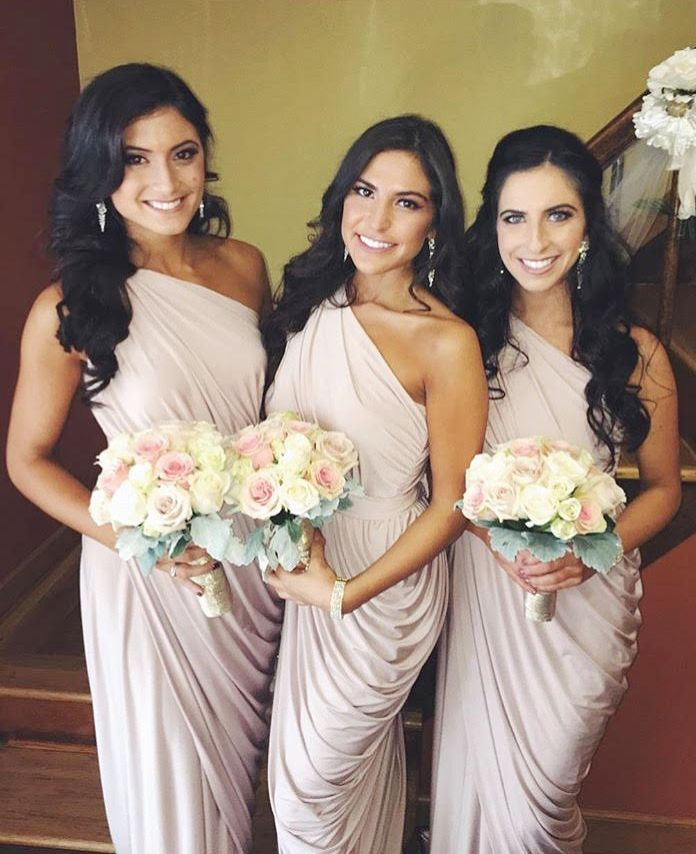 Talk about a bridal party! Luigina had party of 15 bridesmaids, all dressed in our Exclusive Ingrid Dress in Nude.