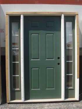 36 Prehung Fiberglass Entry Door With Sidelights 6 Panel Left Hand Full