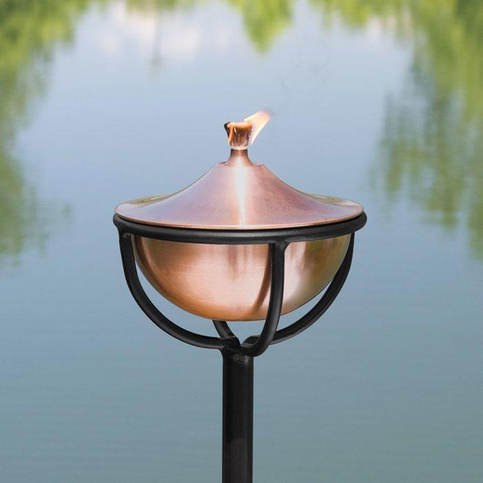 Artisan Copper Garden Torch with Chalice Floor Stand - Antique Copper