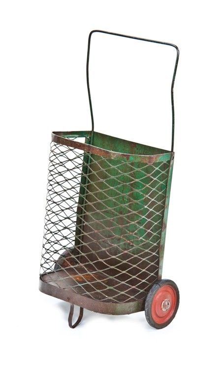 late 1940's vintage american industrial freestanding weathered green enameled steel mesh mobile shopping cart with bent steel rod handle Laundry Basket? Magazine Holder?