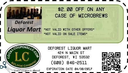 Coupon in Deforest WI for DeForest Liquor Mart from Local Coupons LLC.
