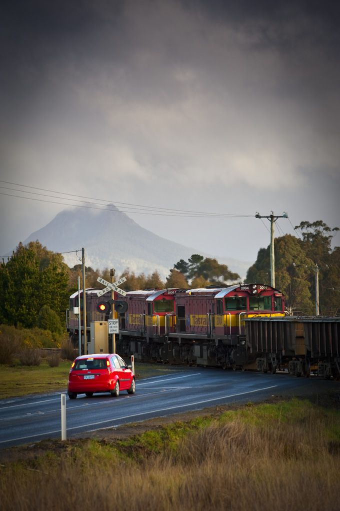 Car stopped at level crossing while a TasRail freight train passes through.