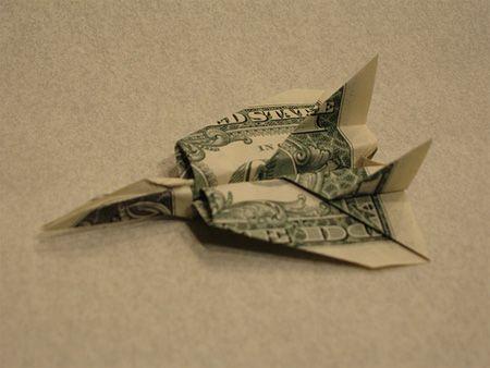 Origami F14 from one dollar bill