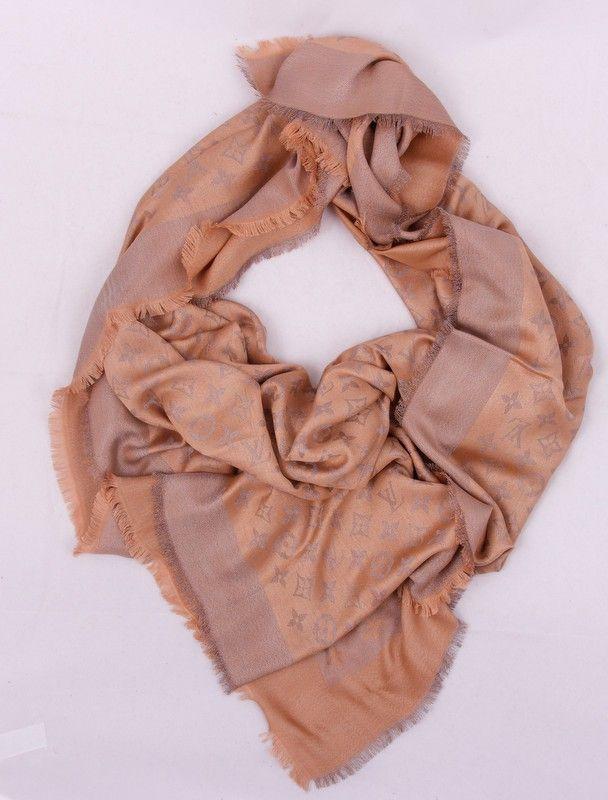 Толстый шарф Louis Vuitton (шелк+шерсть+металлический люрекс) цвет кремовый