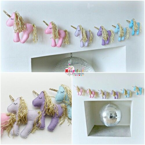 A pretty pastel and gold unicorn garland by Heartfelthandmade