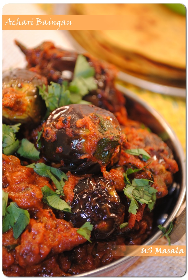 US Masala: Achari Baingan (Eggplant curry with pickle spices)