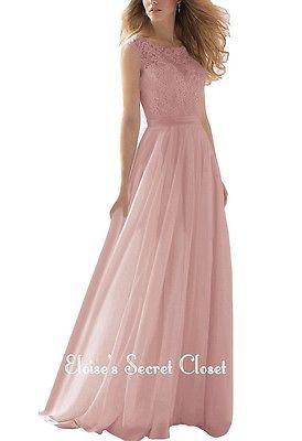 BNWT APRIL Dusky Pink Lace Chiffon Maxi Bridesmaid Ballgown Dress Sizes UK 6 -18