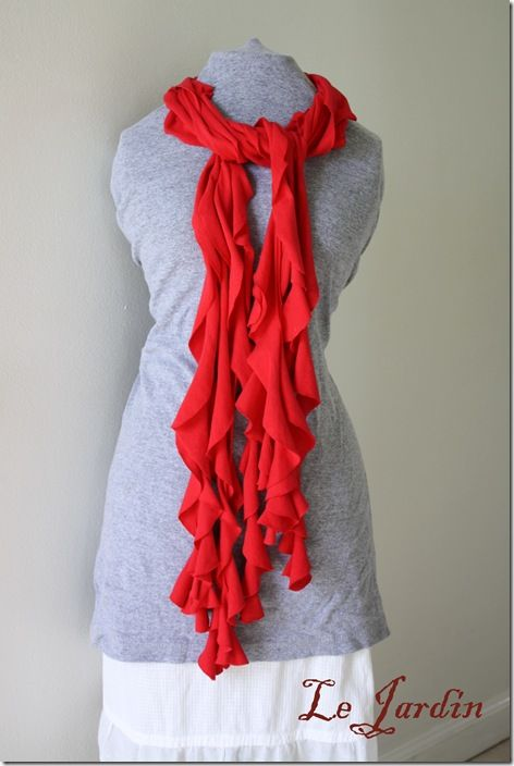3-4 different no sew scarfs made out of tshirts-