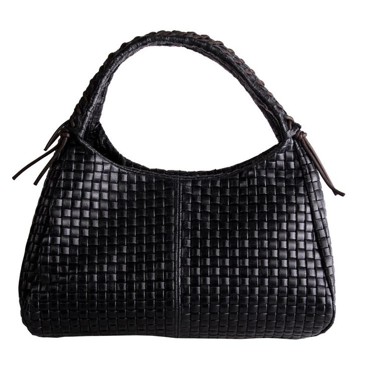 MARLAFIJI HELEN BLACK WOVEN EFFECT ITALIAN LEATHER TOTE