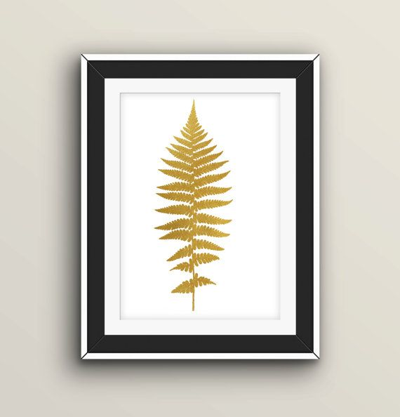 "Fern Leaf Print 8x10"" Golg Foil Decor Digital Download"