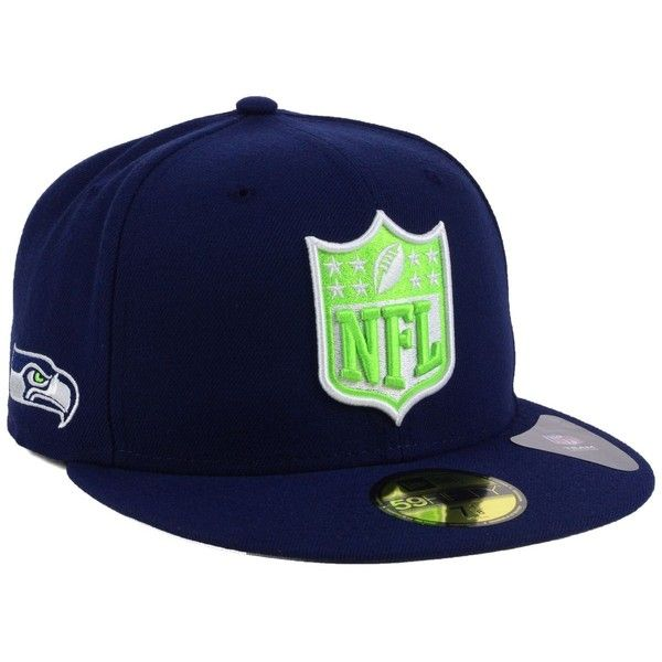 New Era Seattle Seahawks Team Shield 59FIFTY Cap (€17) ❤ liked on Polyvore featuring men's fashion, men's accessories, men's hats, navy and mens caps and hats