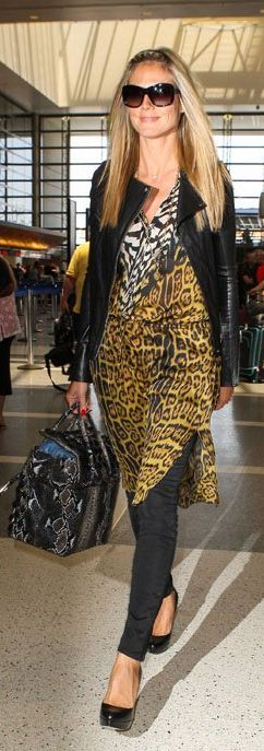 Who made Heidi Klums leopard top and black leather jacket that she wore at LAX airport?
