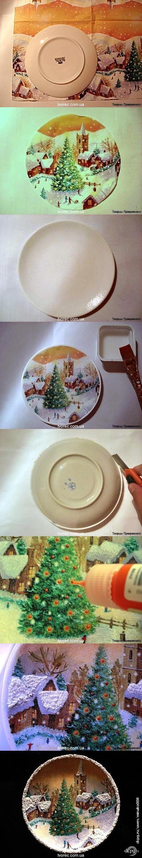 Декупаж - Сайт любителей декупажа - DCPG.RU   Зимняя тарелочка с эффектом снега