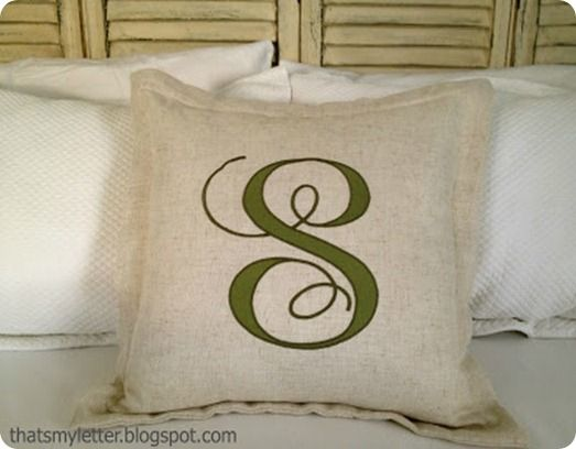 Monogram pillow DIY. A little advanced, but an excuse to try out my new appliqué foot!