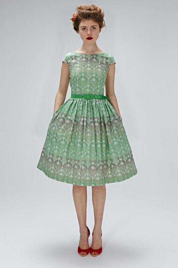 anni 1950 abito ispirato tè lunghezza abito vestito verde smeraldo 50s vestito verde del 1950 abito da cocktail anni