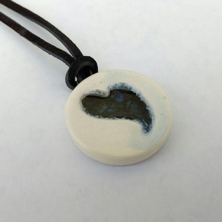 Handmade stoneware and blue glass pendant - SM Pottery