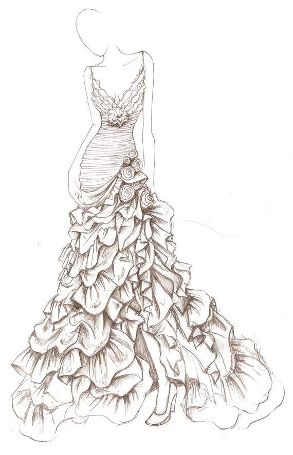 Wedding Dress Illustration Wedding Dress Pencil Drawing Etsy Dress Design Drawing Fashion Drawing Dresses Dress Illustration