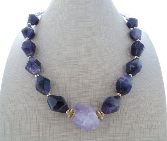 Amethyst necklace chunky necklace purple gemstone by Sofiasbijoux