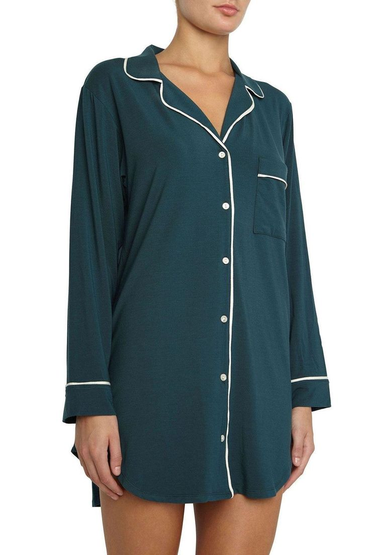 Sometimes you want to feel comfy and cuddly, but don't you ALWAYS want to feel gorgeous and irresistible? Enter Gisele, a collection of loungewear and sleepwear that provides the best of both worlds. Reach for this sleepshirt when you want something a little more substantial than a nightie, but not quite as substantial as your PJs. Looks like you borrowed his, but flatters your feminine physique.   Long Sleeve Sleepshirt by Eberjey. Clothing - Lingerie & Sleepwear - Sleepwear Canada