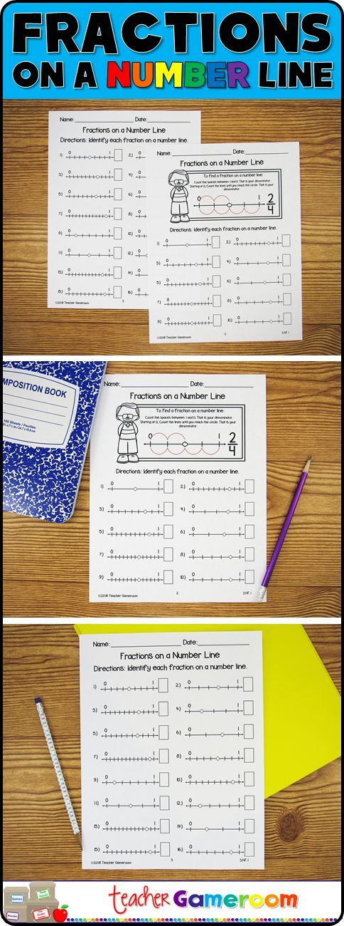Reinforce fraction skills with this Fractions on a number line worksheet. Students find the fraction indicated by the circle on a number line. Handy guide at the top teaches students how to find it. Answer Key is included. #teacher #iteachtoo #fractions