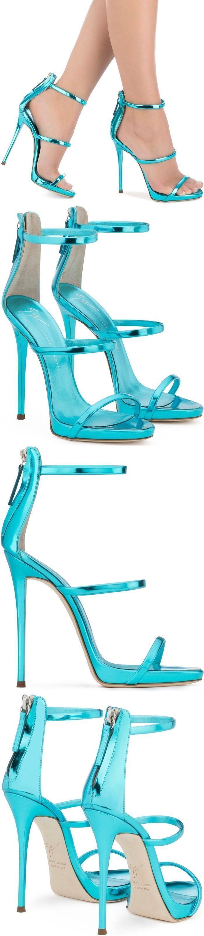 Blue patent leather sandal with three straps #velvetshoeshighheels #giuseppezanottiheelssandals
