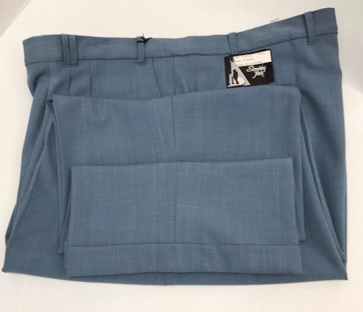 Smokey Joe's Men's Slate Blue Dress Pants 2 Pleat Cuffed Hem Baggy Size 56L x 32 #SmokeyJoes #DressPleat