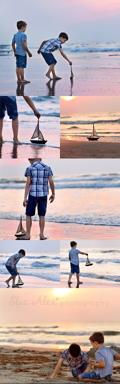 beach, boys and a boat at sunrise Eliz Alex Photography, Allen Texas child photographer, beach photography