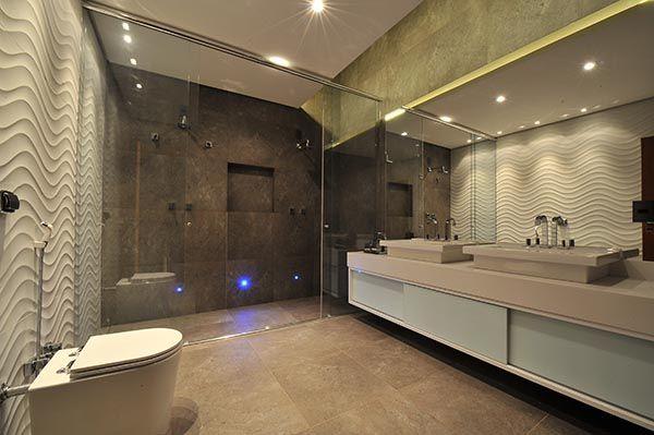 Banheiros Com Revestimento Em Porcelanato : Banheiro com revestimento em porcelanato portinari cinza e