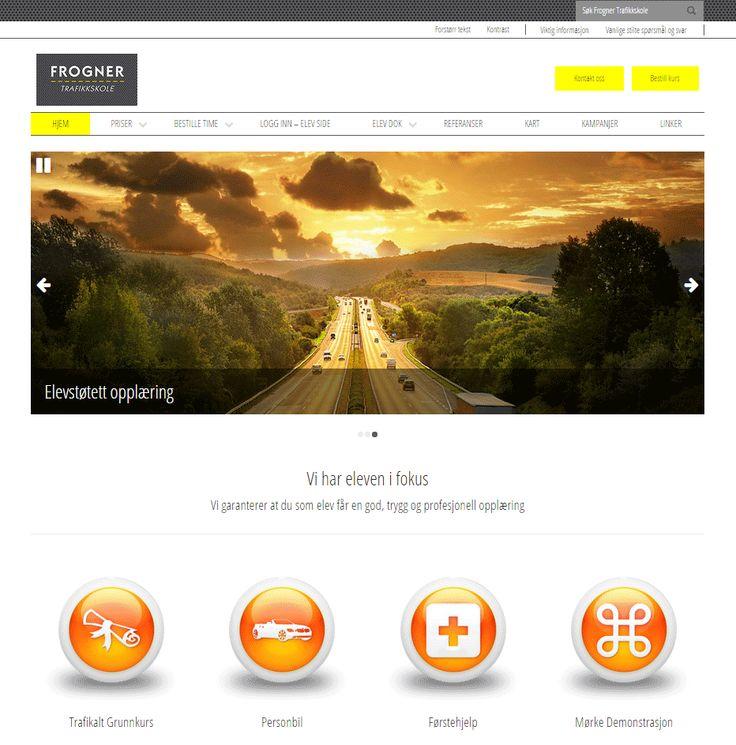 Slik ser nettsiden til Frogner Trafikkskole ut. De bruker Wordpress fra Idium.